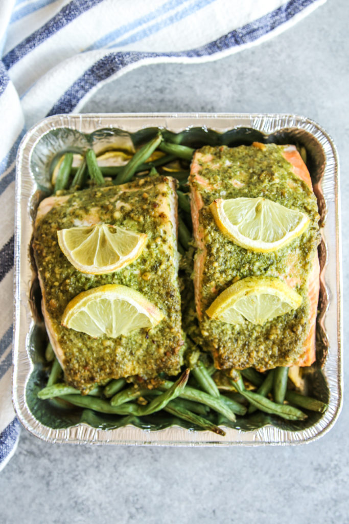 The most amazing 5 ingredient pesto salmon with green beans and rice