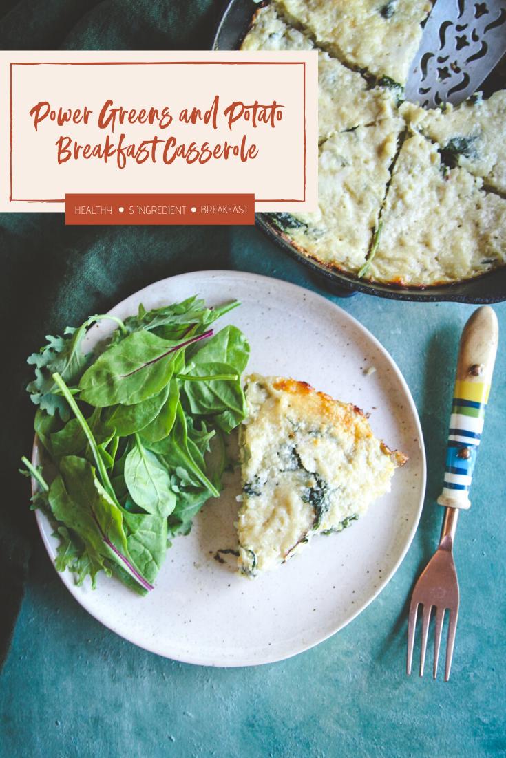 Power greens and potato breakfast casserole