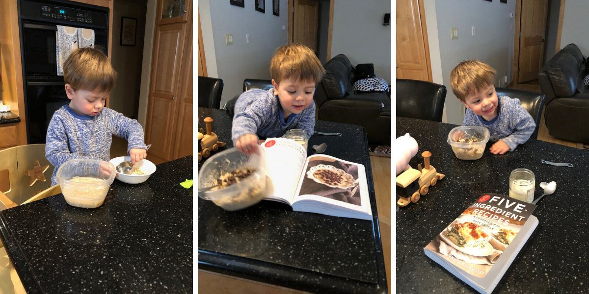 Ben helping cook from SweetPhi cookbook