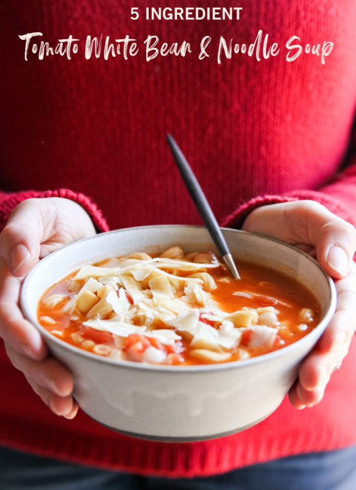 5 ingredient tomato white bean noodle soup