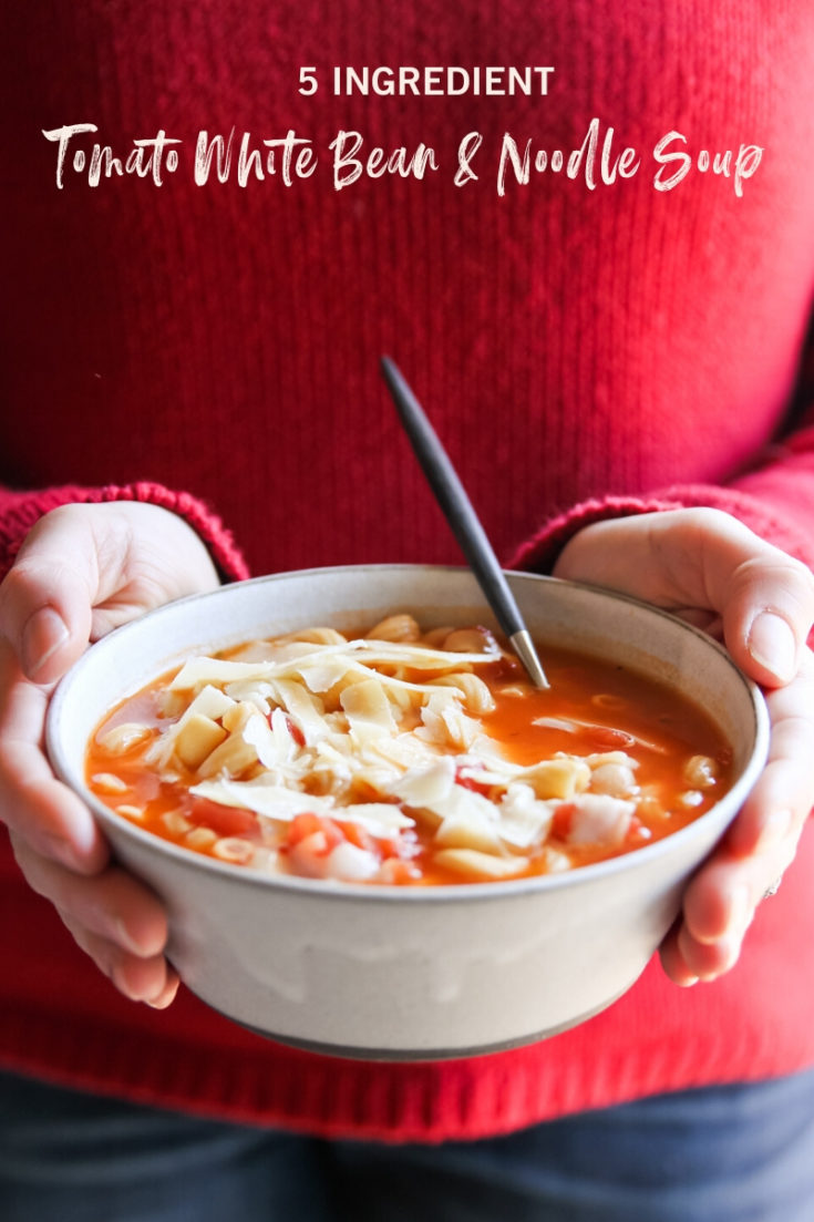 5 Ingredient Tomato White Bean and Noodle Soup