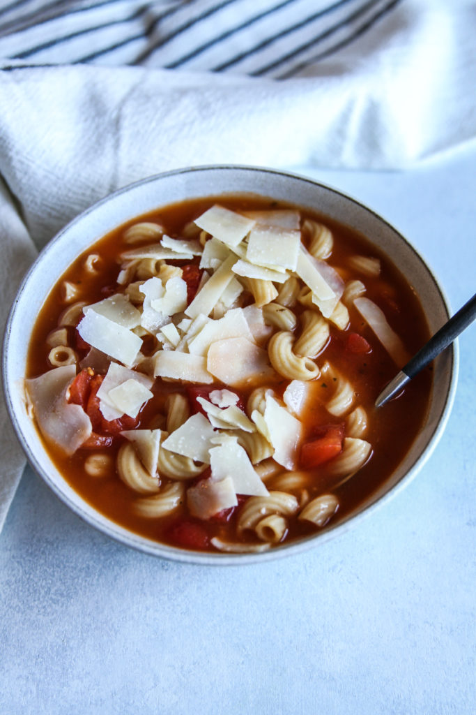 The most amazing 5 ingredient tomato white bean noodle soup