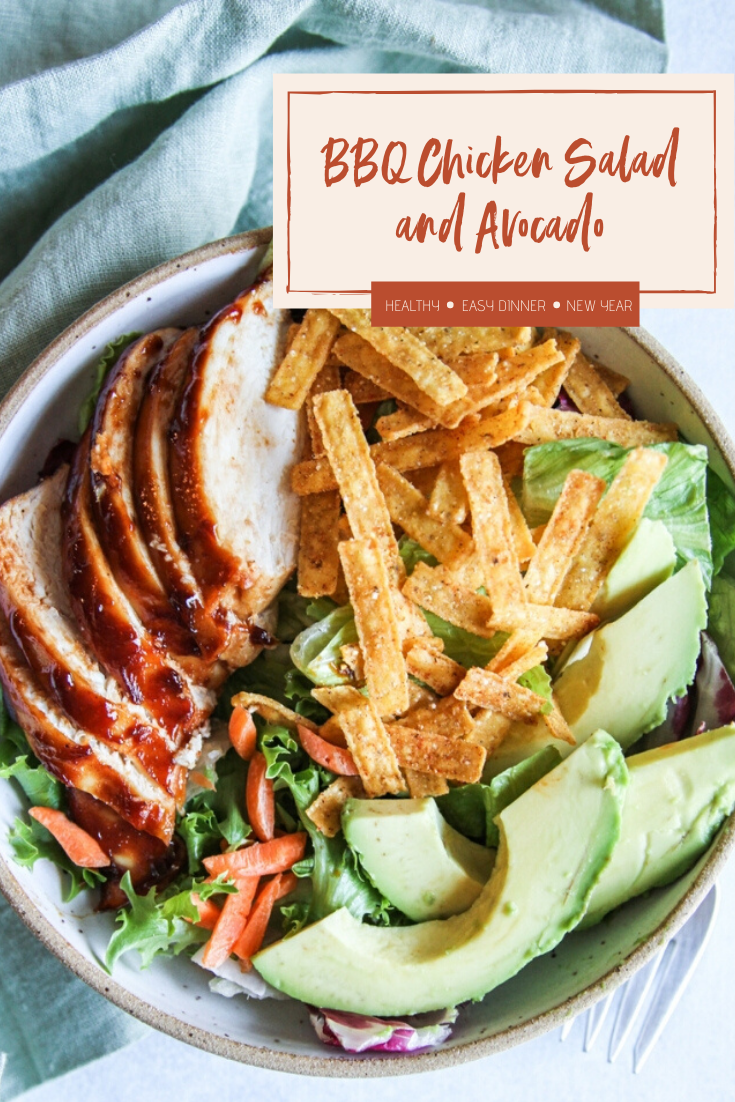 Baked BBQ chicken and avocado salad, easy healthy family dinner