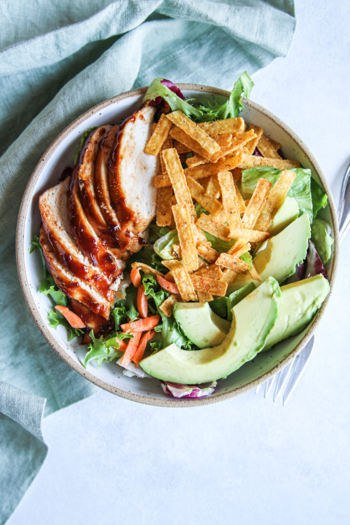 Baked BBQ chicken and avocado salad for an easy, healthy dinner