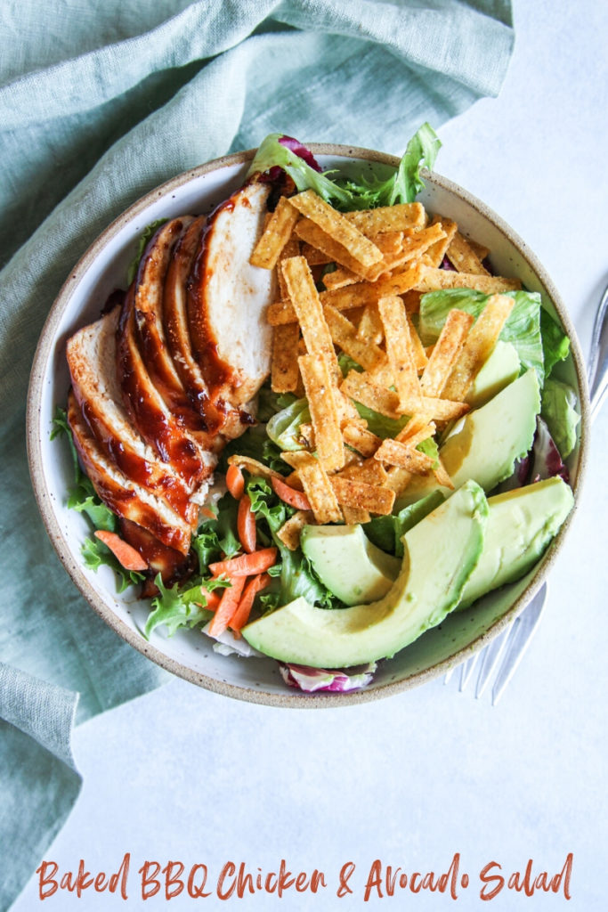 The easiest and healthy baked BBQ chicken and avocado salad