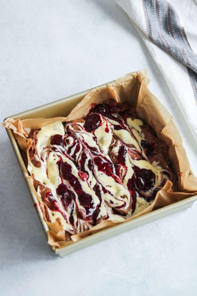 The most amazing raspberry cream cheese swirl brownies