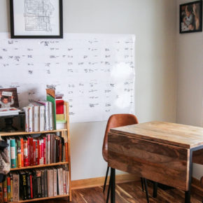 small home office makeover reveal from dark to light