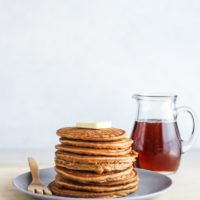 Sweet potato pancakes made with sweet potato puree