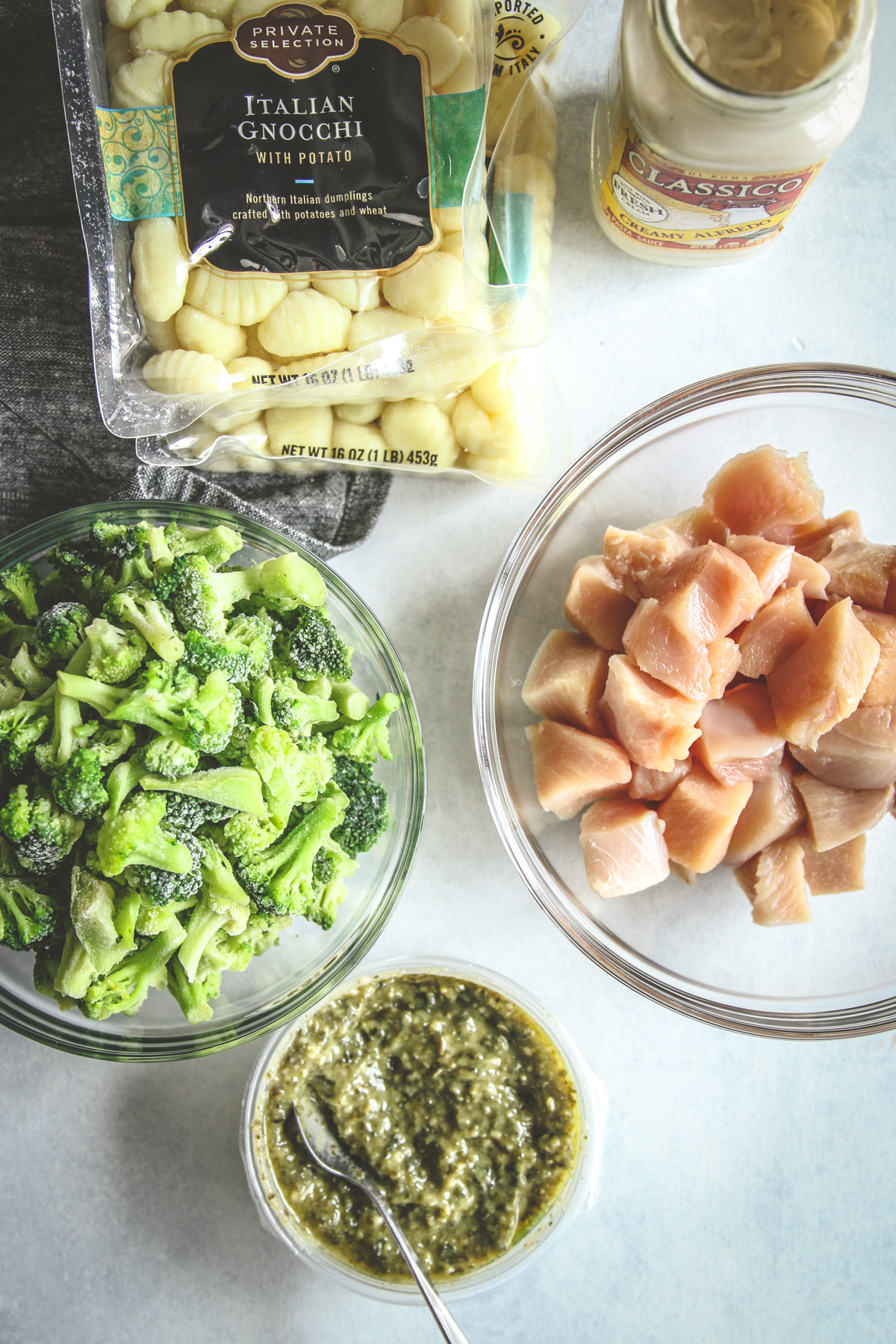 5 Ingredient chicken gnocchi with alfredo pesto