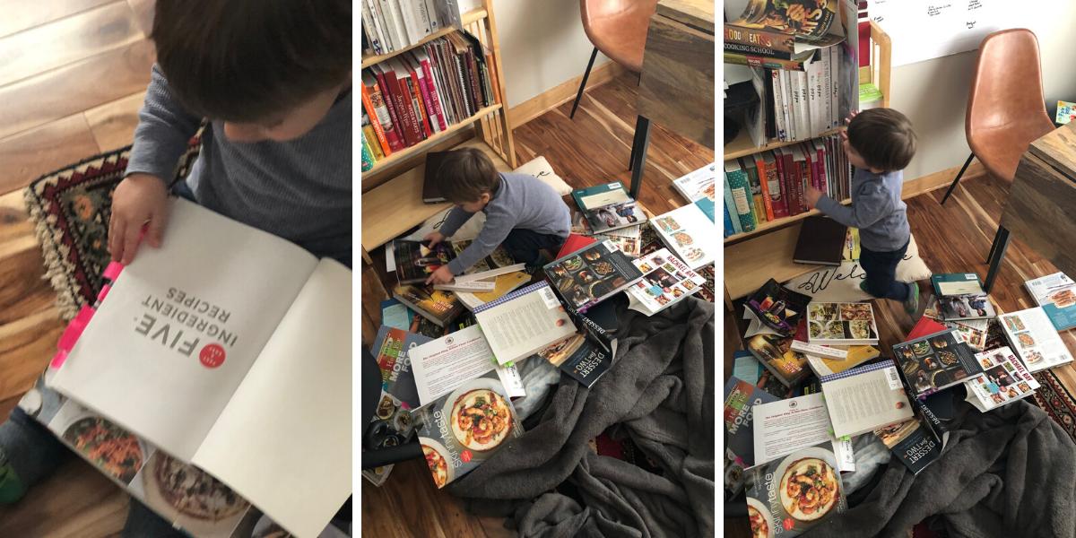 Kid reading cookbooks