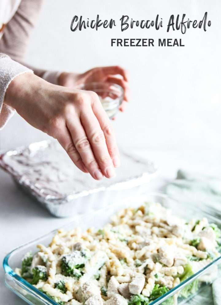 Chicken broccoli alfredo freezer meal