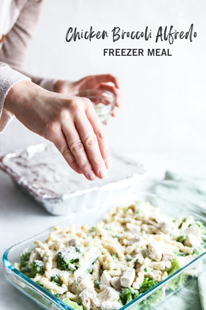 The best ever chicken broccoli alfredo freezer meal