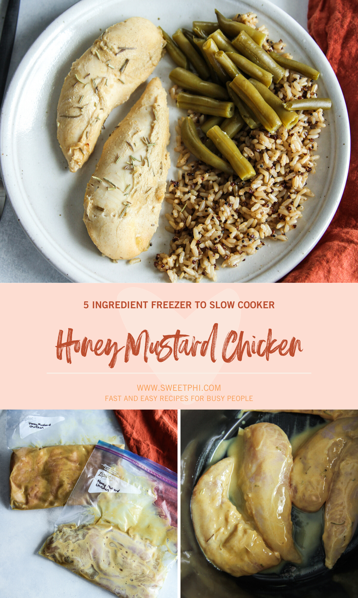 5 Ingredient Freezer to Slow Cooker Honey Mustard Chicken