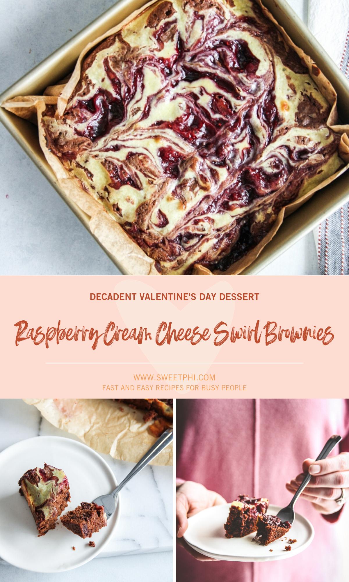 Raspberry Cream Cheese Swirl Brownies