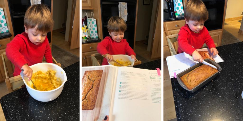 Ben making Banana Bread