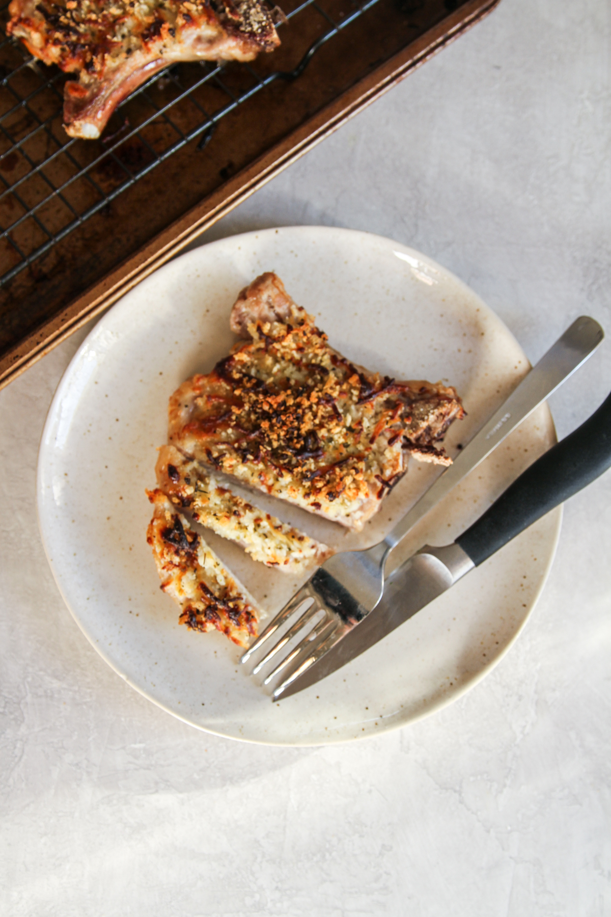 5 Ingredient oven baked pork chops with a mozzarella crumb topping