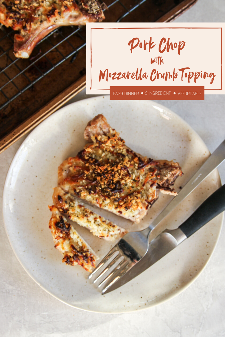 Pork Chop with Mozzarella Crumb Topping