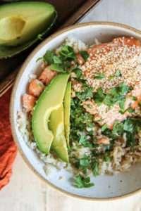 sesame salmon rice bowls recipe