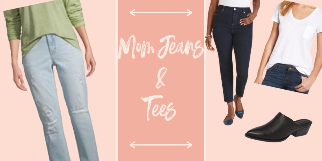 Mom jeans and tees for spring