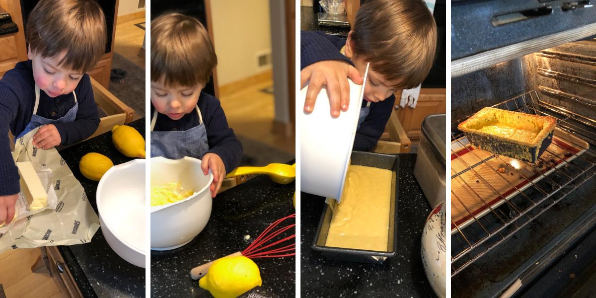 Ben making lemon loaf