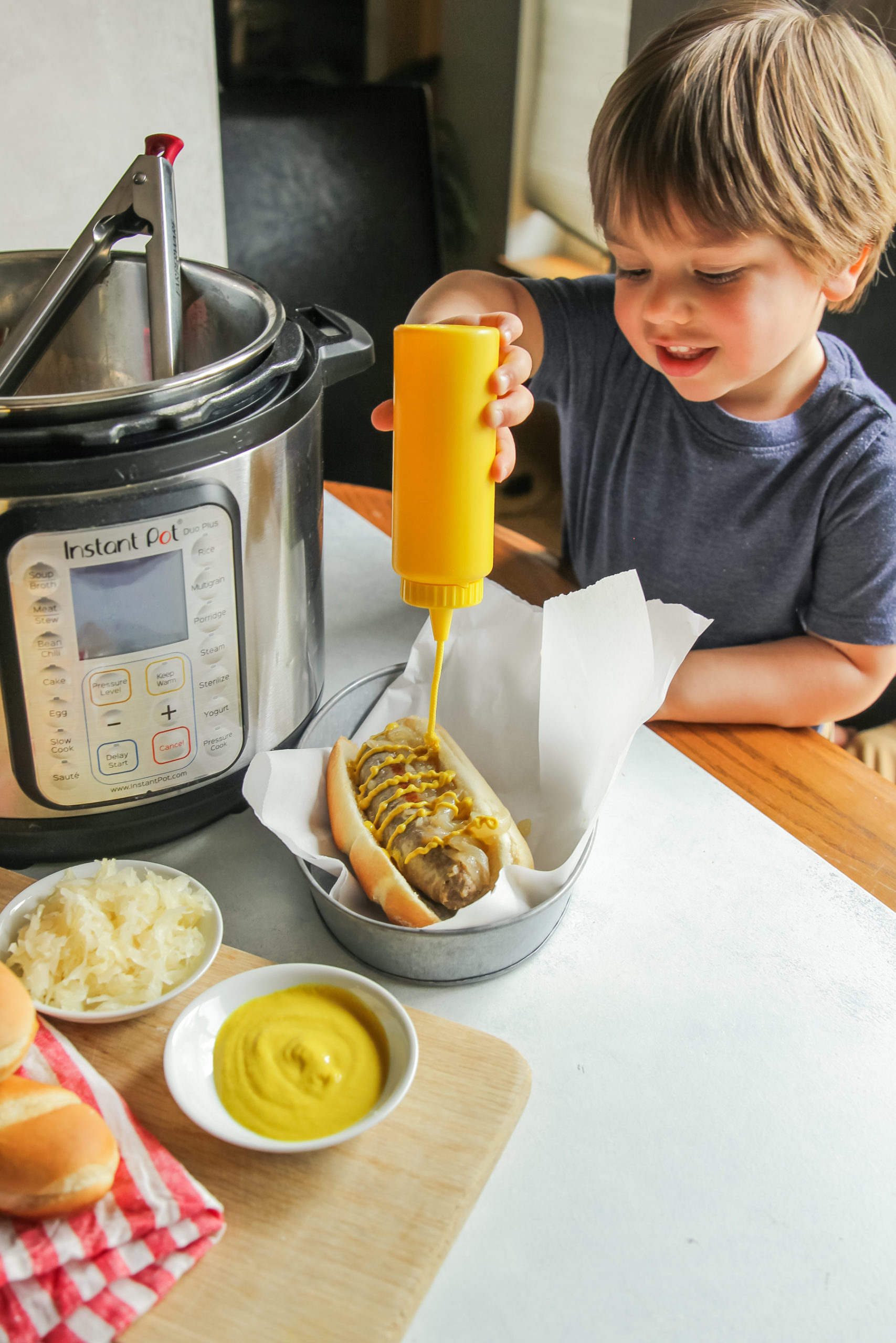 Kid approved instant pot beer brats