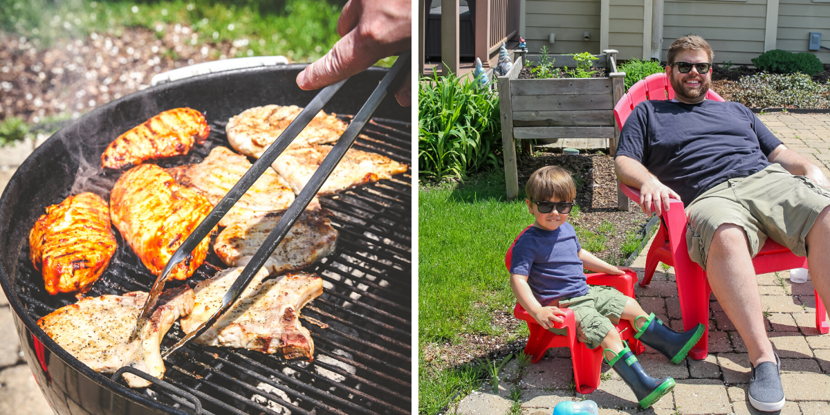 Outside grilling with the family