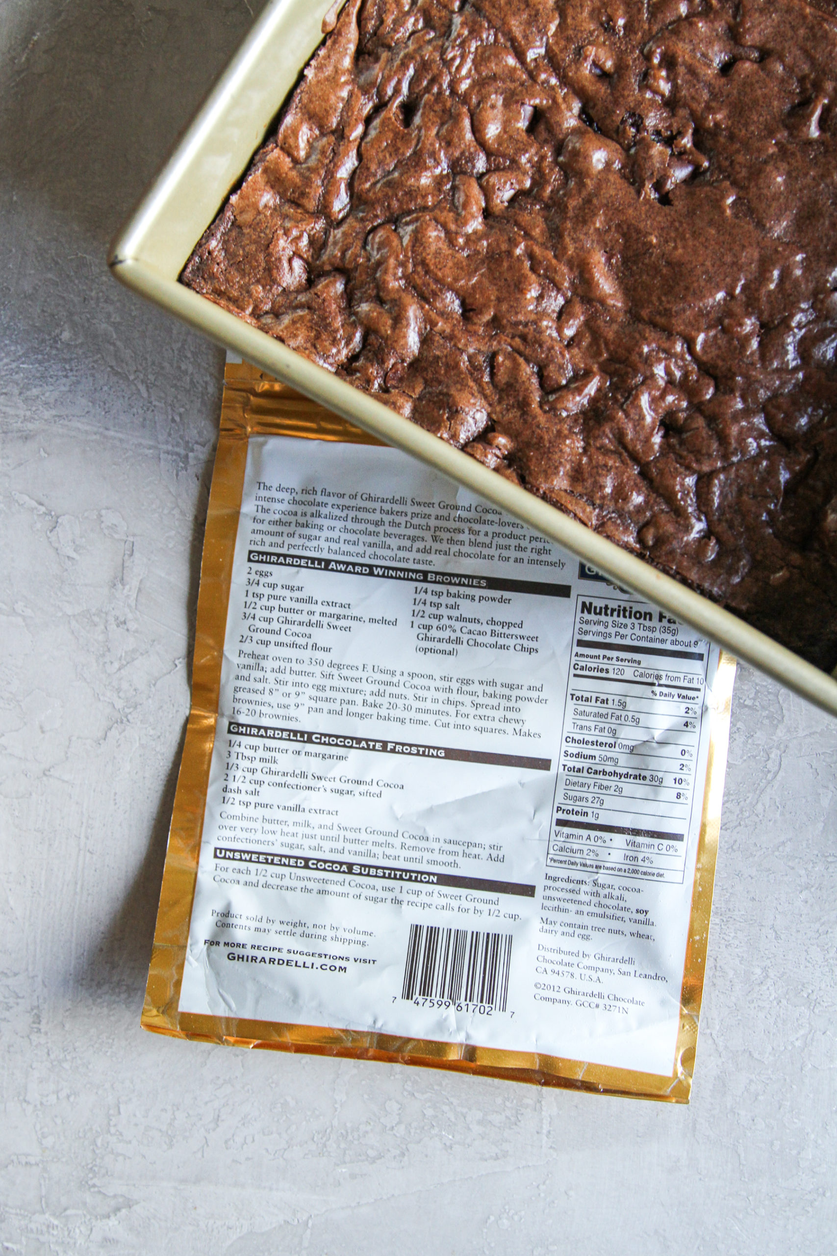 Best ever back of the bag brownies with Ghirardelli chocolate