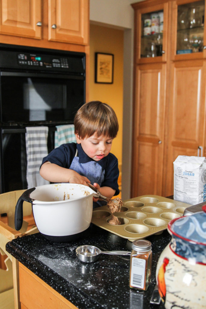 Kids in the kitchen - 2 year old making eggless applesauce muffins with streusel topping