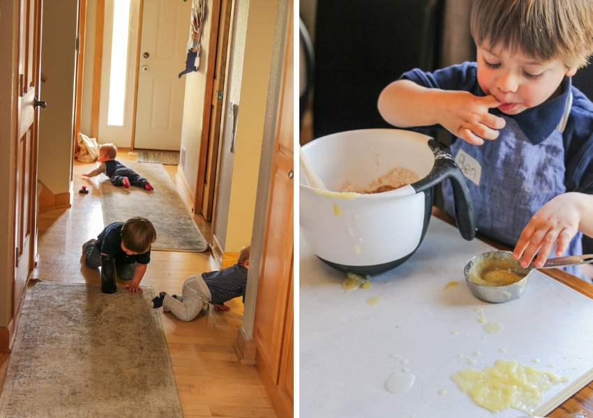 Kids in the kitchen and crawling everywhere
