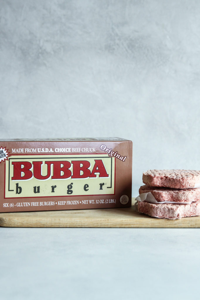 BUBBA Original beef burgers next to box