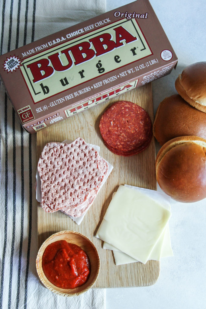 Easy recipe with 5 ingredients used to make pizza burgers with BUBBA burgers