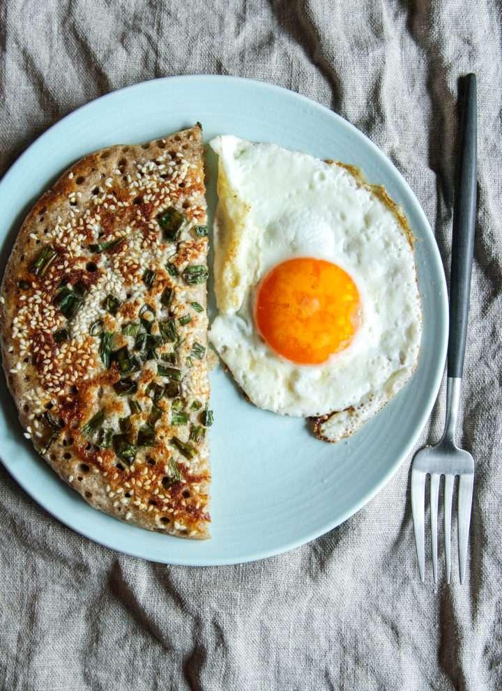 How to make a Sourdough starter scallion green onion pancake