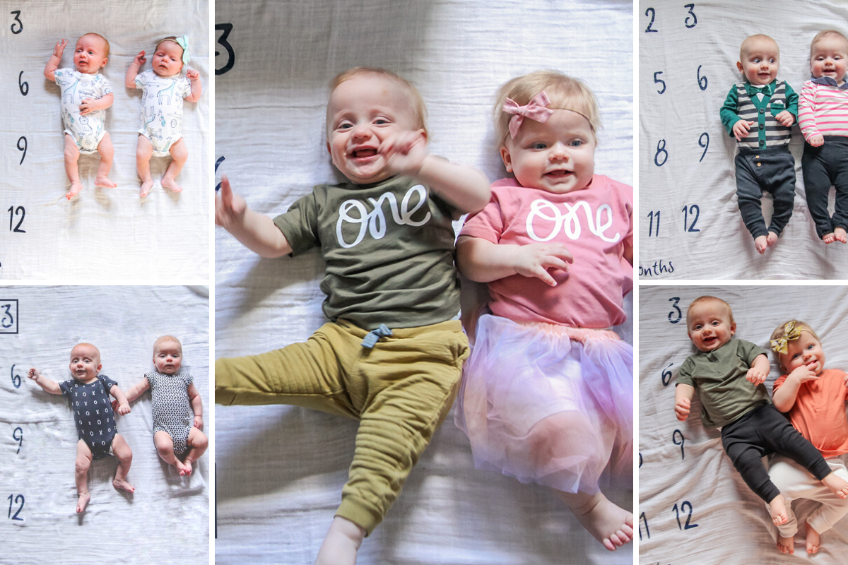 Monthly photos of the twins