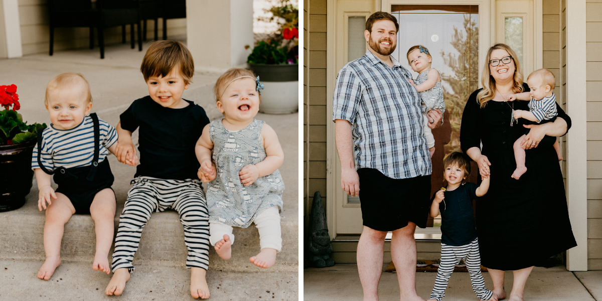 Family photos with twins and a toddler