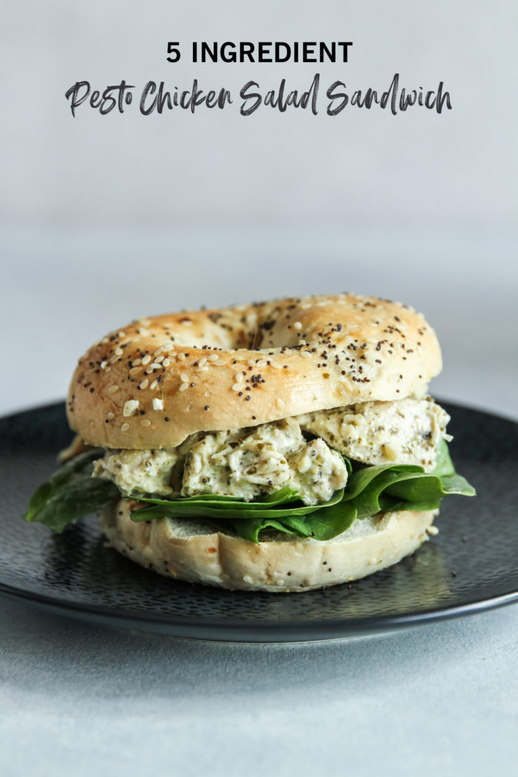 5 Ingredient pesto chicken salad sandwich