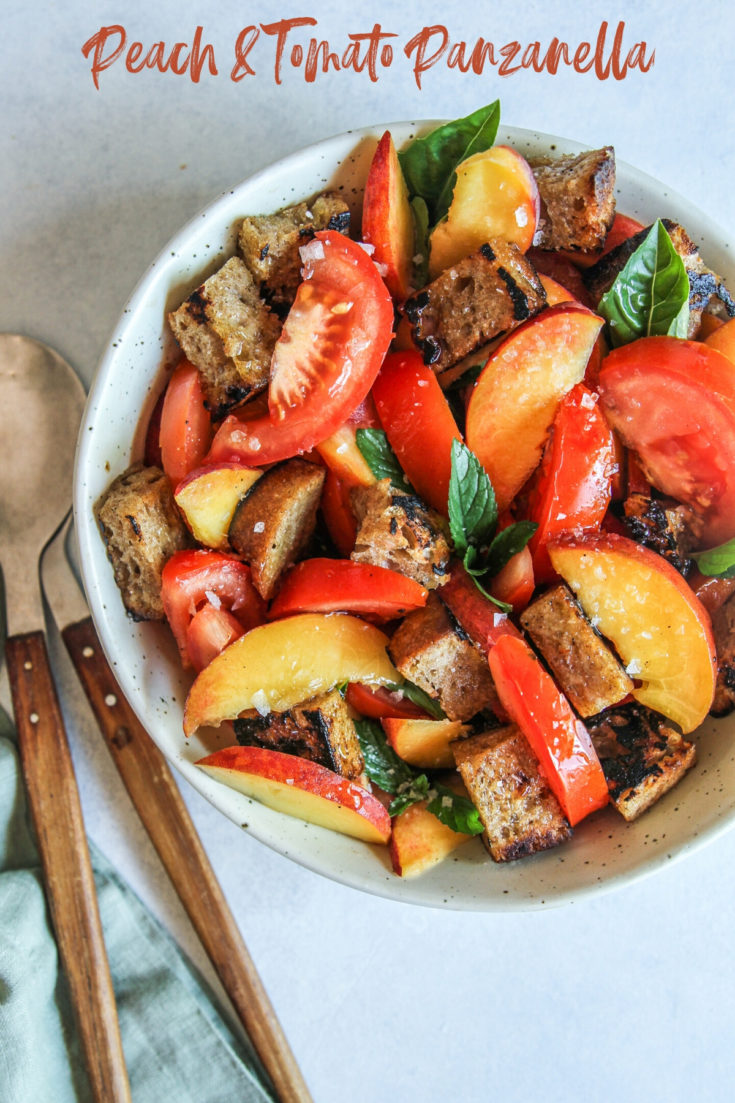 Peach and tomato panzanella with sourdough croutons