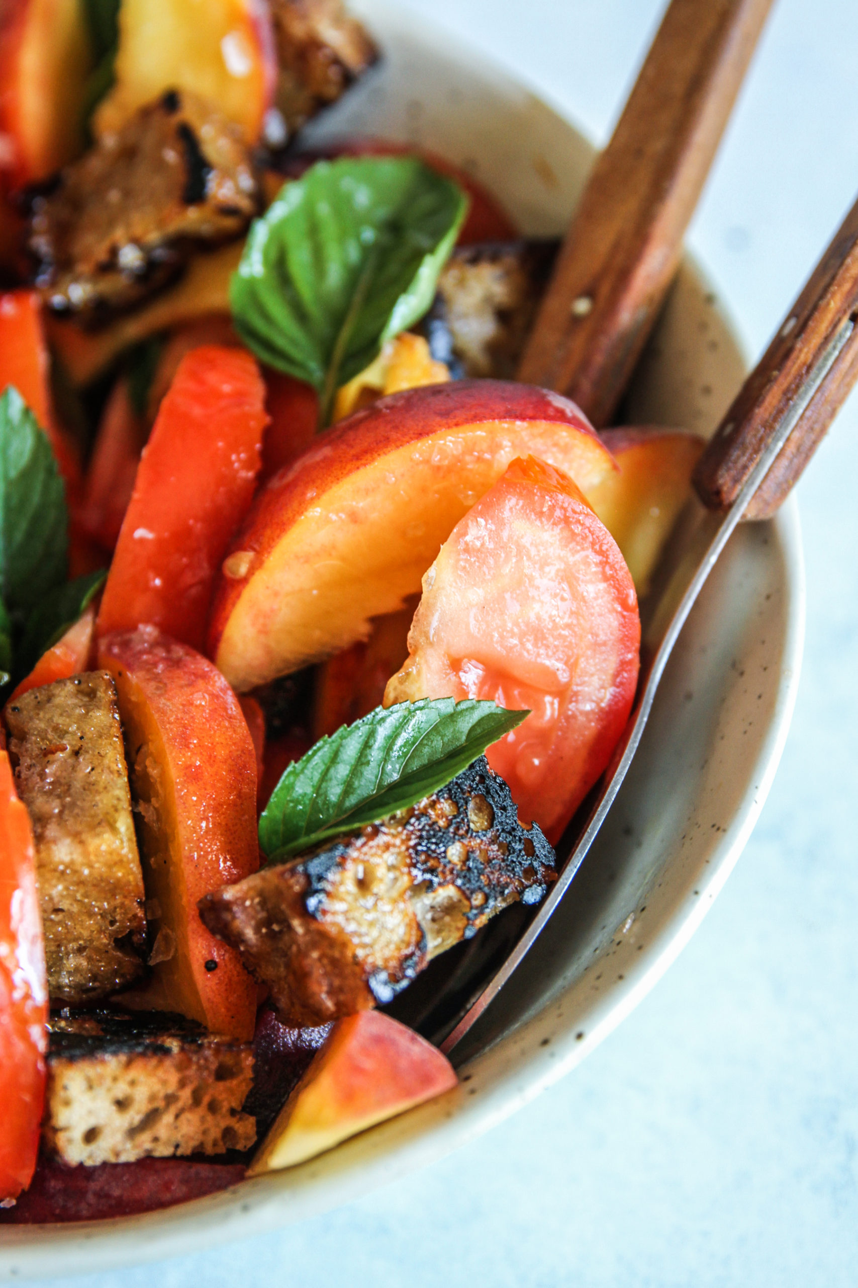 The most amazing peach and tomato panzanella with sourdough croutons