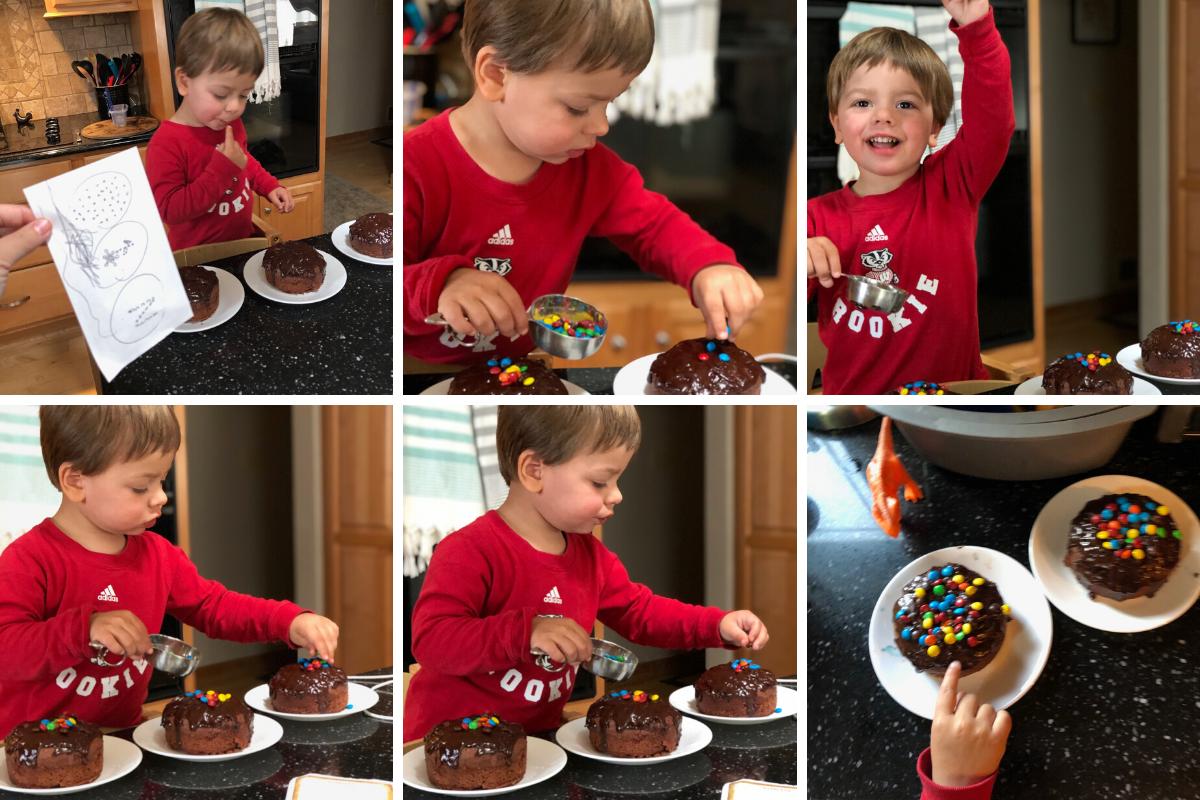 Ben making cake