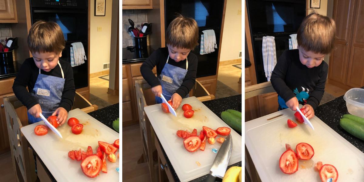 Ben Cutting Tomatoes