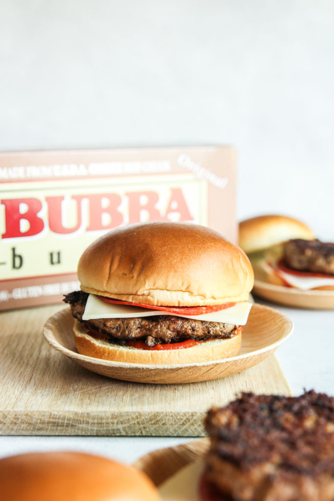 Pizza burgers made with BUBBA burgers