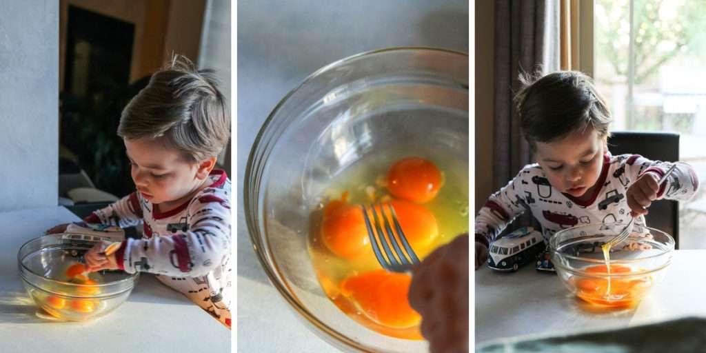 Toddler making scrambled eggs