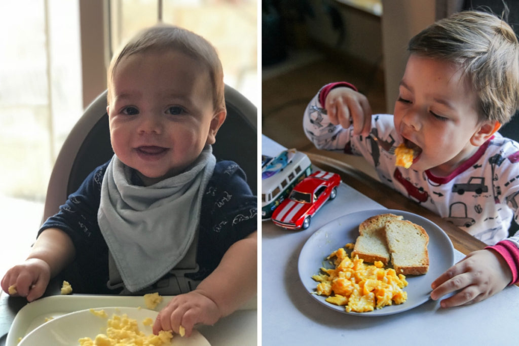1 year old and 3 year old eating scrambled eggs