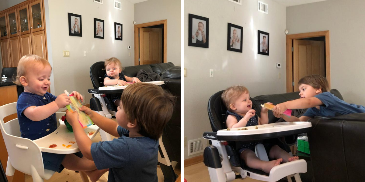Ben feeding twins