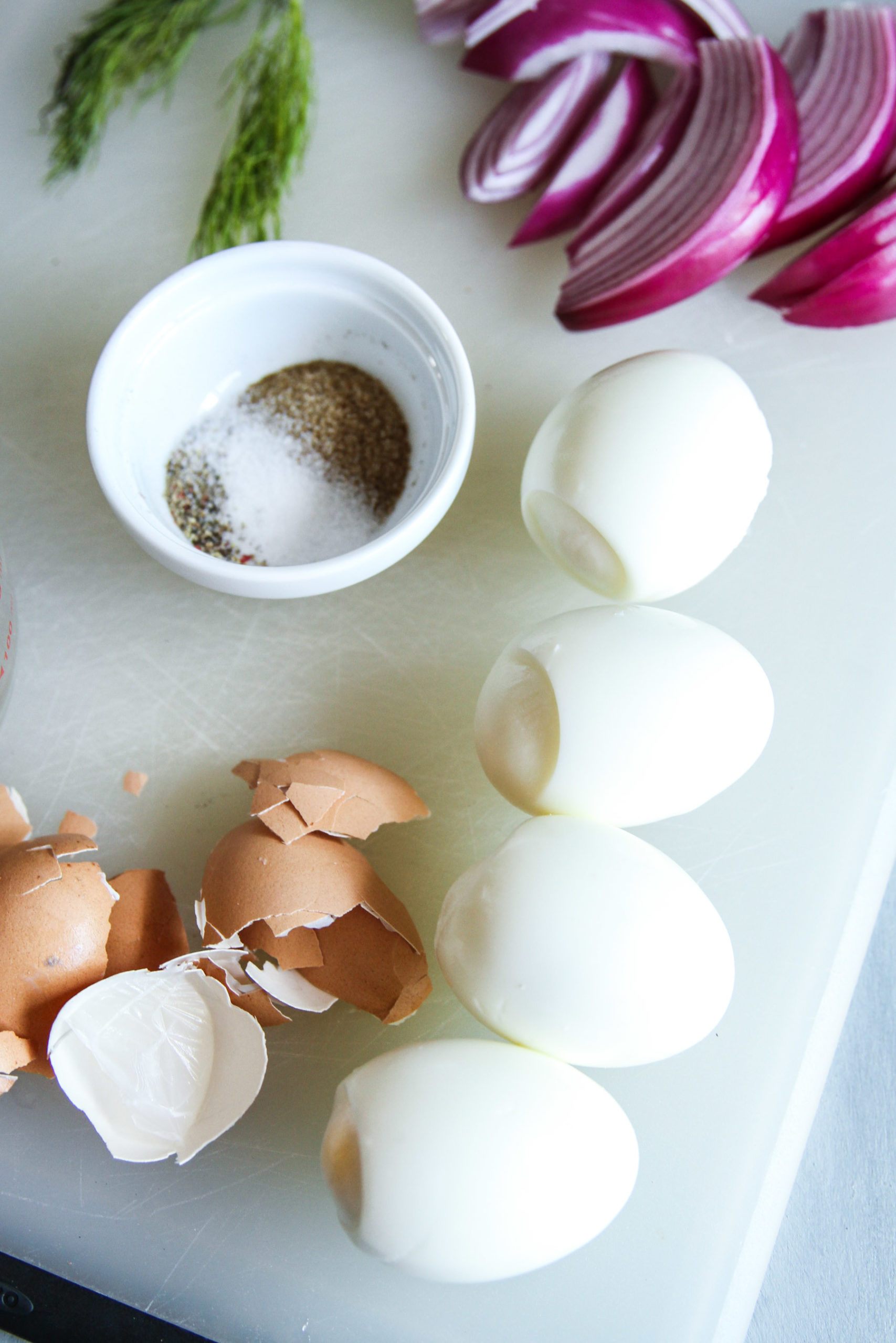 How to start quick pickled eggs with hard boiled eggs