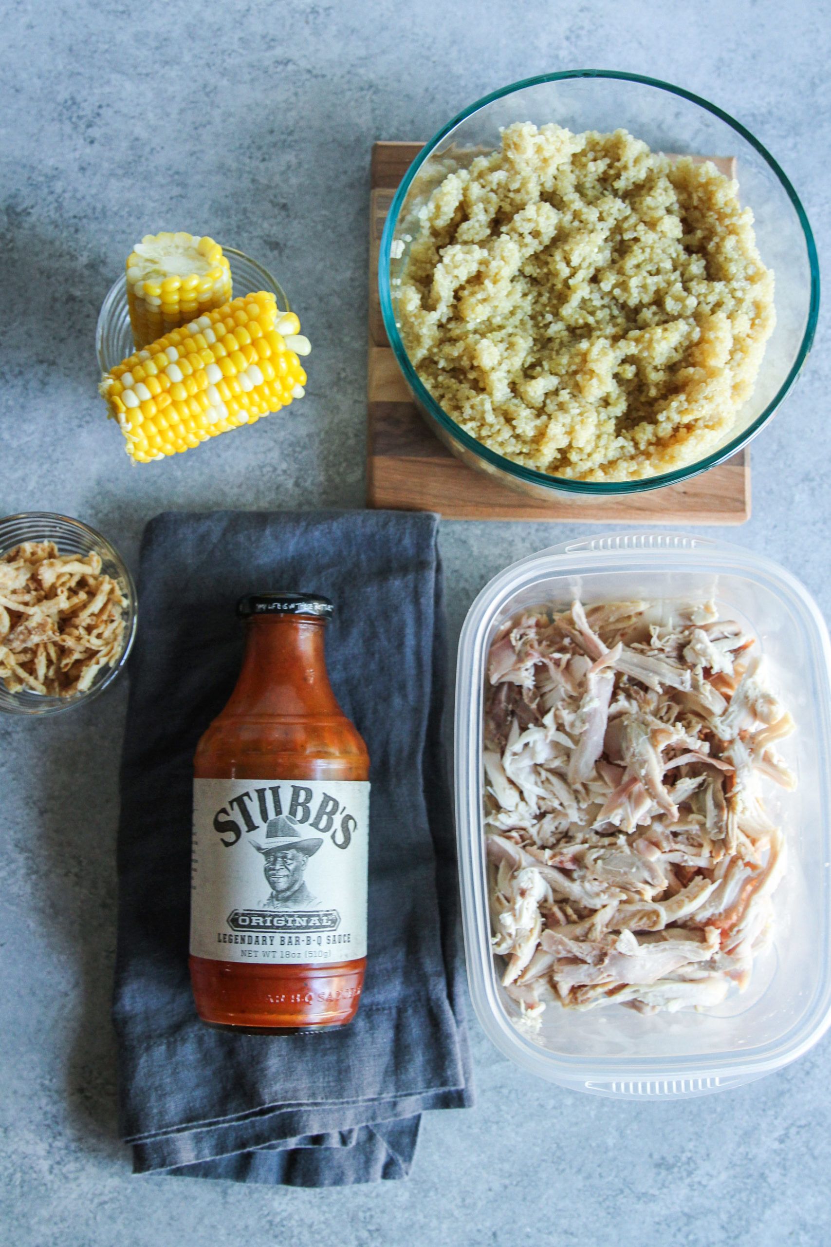 Ingredients to make easy BBQ chicken and quinoa bowls