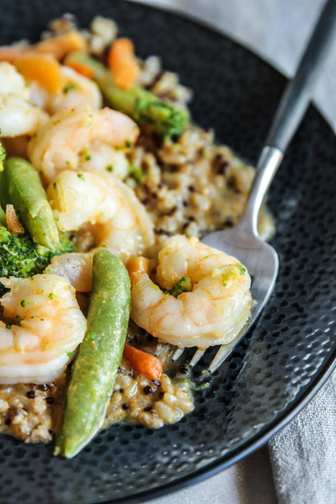Easy curry shrimp and vegetable stir fry with rice recipe