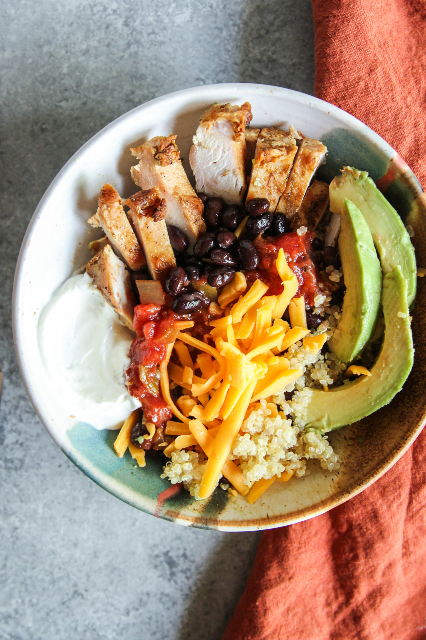Mexican chicken and quinoa bowls
