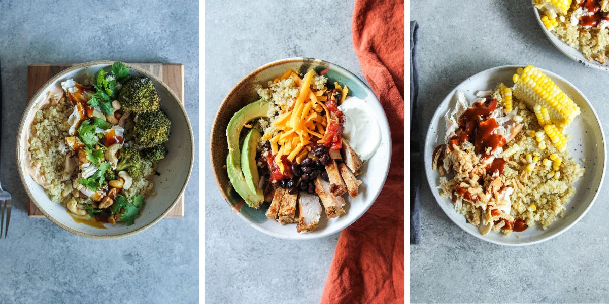 Different meal prep bowls that are easy to prep once and eat all week