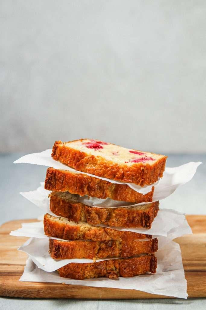 Greek yogurt raspberry loaf for breakfast meal prep