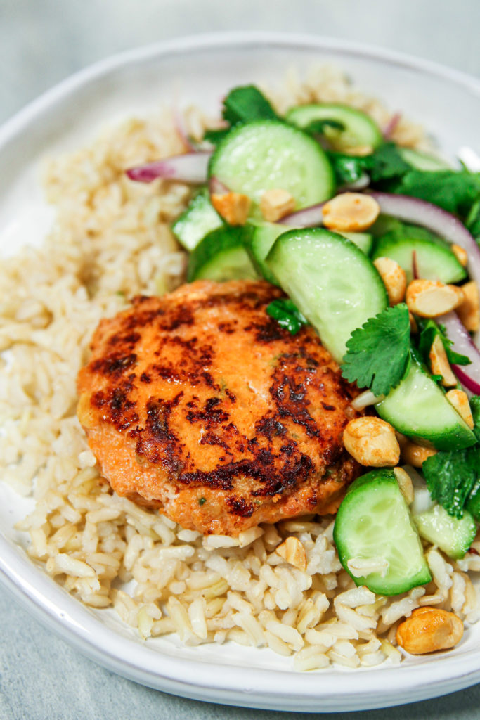 Thai shrimp cakes with cucumber salad recipe from skinnytaste meal prep cookbook